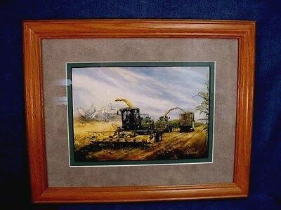Ray Crouse Tractor Print - Astonishing Spirits In Forage Harvesting - Framed