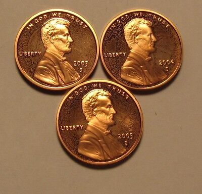 2003 S 2004 S 2005 S Lincoln Cent Penny Proof - Mixed BU Condition - 54SU