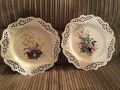 Set Of 2 Hand Pierced Limited Edition Royal Creamware Plates