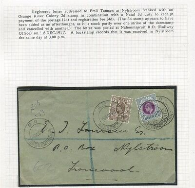 SOUTH AFRICA; LETTER/COVER 1911 Railway Office Cancels to Nylstroom