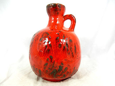 Cool 70´s design Ruscha pottery jug vase in a red Fat Lava glaze variation 333