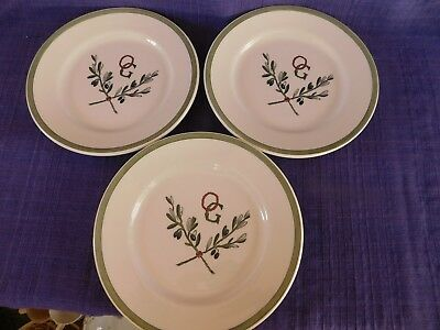 3 - Buffalo Pottery Olive Branches with initials OG Salad Plates SET of THREE