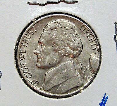 Jefferson Nickel Uncirculated With Large Cud Covering The Date