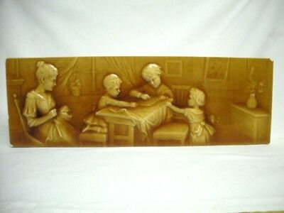 Rare 18x6 Antique AMERICAN ENCAUSTIC TILE MOTHER AND CHILDREN Zanesville Pottery