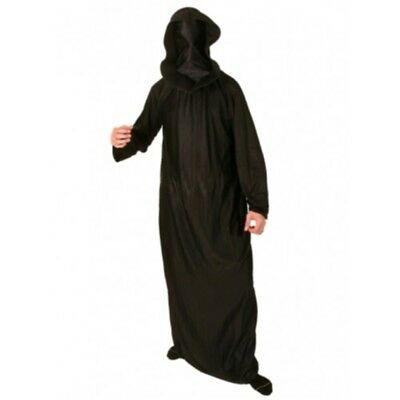 Black Satin Face Covered Robe & Hood - Death Halloween Grim Reaper Larp Cloak
