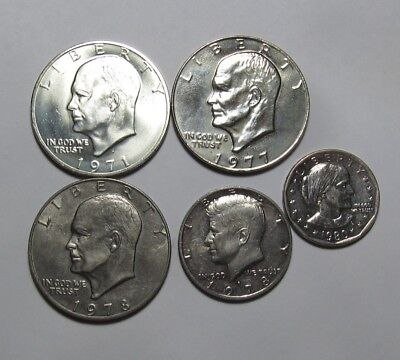 1971 S Eisenhower Dollar w/ Extras - AU/BU Condition - 68SU-2