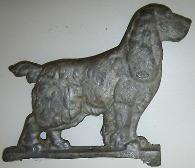 VTG Dog Door Stop Silver Solid Metal Cocker Spaniel Doggy Figurine Cast Iron 8""