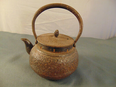 Metal cast iron miniature tea pot with strainer Asian design handle lid 5 oz art