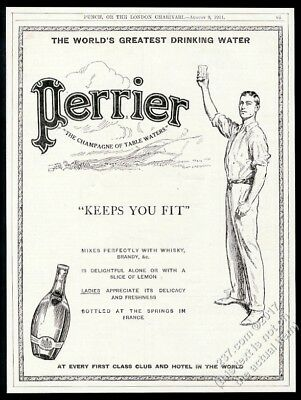 1911 Perrier water young man art Keeps You Fit vintage print ad