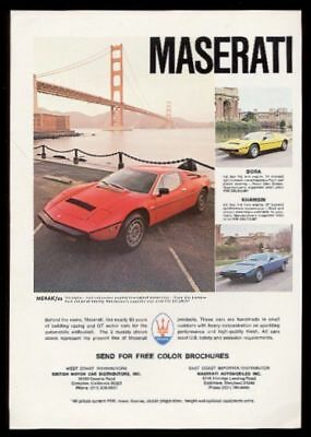 1978 Maserati Merak SS Bora Khamsin 3 car color photos vintage print ad