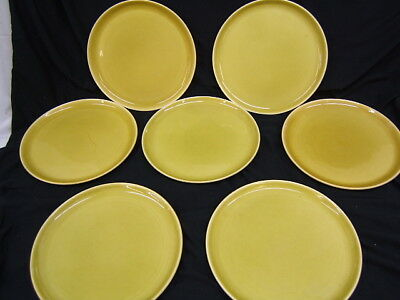"""Lot of 7 Mid Century Russel Wright 10"""" Dinner Plates Chartreuse VGC"""