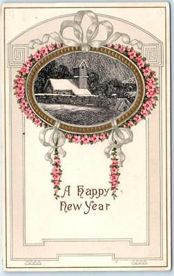 ARTS and CRAFTS   Embossed  A HAPPY NEW YEAR  1916   Postcard