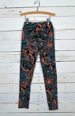 Girls LULAROE Sz Tween Floral Paisley Leggings Teal Blue Orange Black