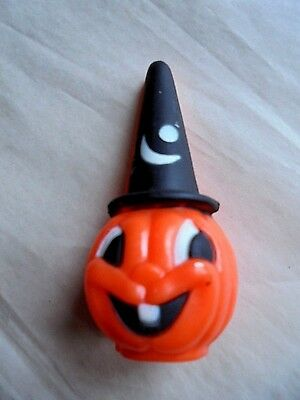 Vintage Hong Kong Hard Plastic Halloween Jack-O-Lantern w/ Witch Hat Decoration
