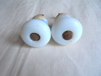 Pair of Antique Milk Glass Drawer Pull Knobs