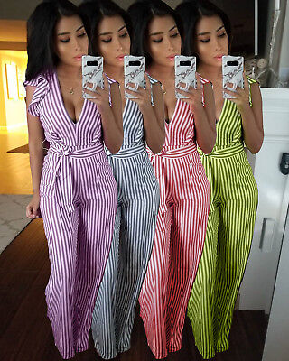 Women Sleeveless V Neck Backless Stripes Casual Club Party Summer Long Jumpsuit