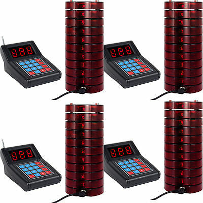Restaurant Wireless call Paging Queuing System 4*Transmitter+40*Coaster Pager US