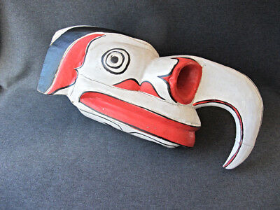 Pacific Northwest carved and painted wood eagle mask