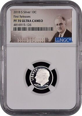 2018 S SILVER Roosevelt Dime FIRST RELEASES NGC PF70 Ultra Cameo (Portrait)