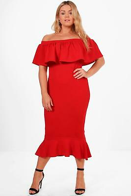 0cf122c58c8b Boohoo Womens Plus Size Bethany Off The Shoulder Frill Hem Midi Dress
