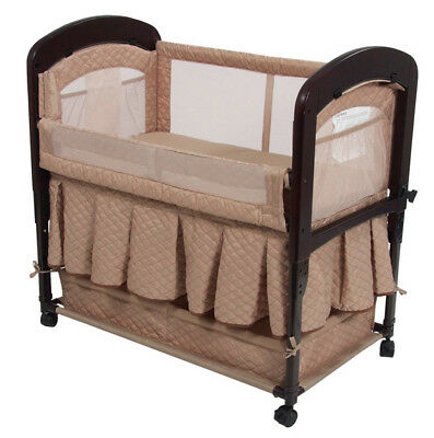 Arm's Reach Cambria Baby Co-Sleeper Bedside Bassinet with Skirt Toffee NEW