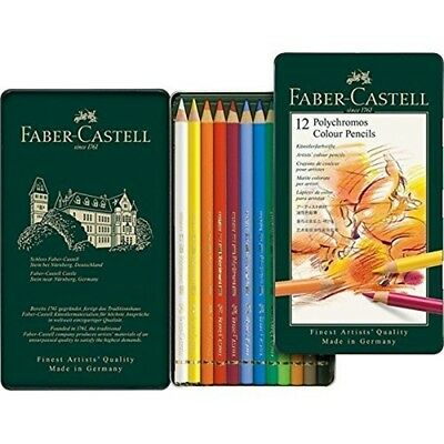 Faber Castell Polychromos Pencils : Set Of 12 In A Metal Tin - Colour Faber