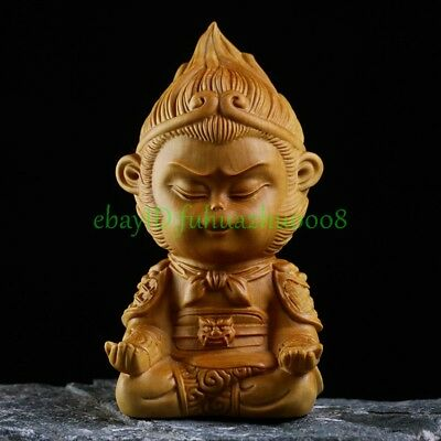 Solid Boxwood Hand Carved The monkey king Ornament Statue Gift