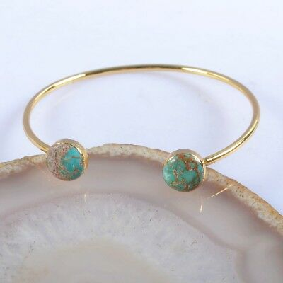 Defective Natural Genuine Turquoise Bangle Gold Plated H115300