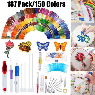 AU 187In1 Magic DIY Embroidery Pen Knitting Sewing Tool Punch Needle+150 Threads