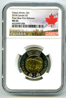 2018 Canada $2 Polar Bear Classic Toonie Ngc Ms66 First Releases Pop Only 8