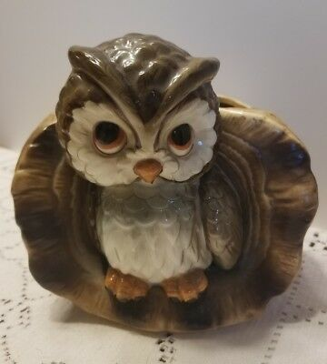 """Vintage Mid Century Owl Planter Japan 4 1/2"""" tall Great for Succulents or Herbs"""