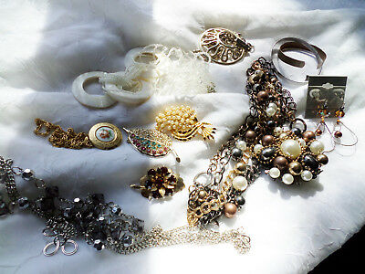 Vintage Jewelry LOT /Copper/ Sterling/ Crystal/ Sarah Cov/ MJent  (K215)