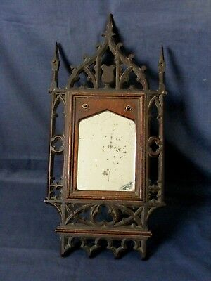 Antique Victorian Gothic Carved Wood Mirror c1850