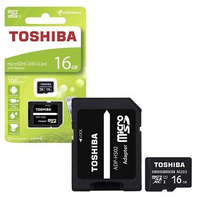 16GB Toshiba Micro SD SDHC Memory Card 100MB/s with SD Card Adapter 16GB
