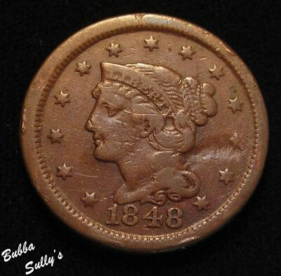 1848 Braided Hair Large Cent <> VG Details