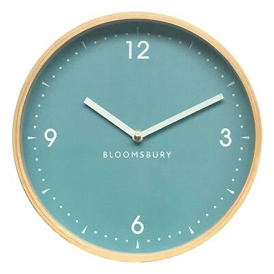 Vitus Wall Clock Natural Wood Light Yellow Finish Blue Dial White Colour Hands