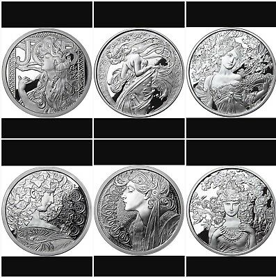 Alphonse Mucha Complete Set Of 6 1 Oz Silver Proof Coins Job-Dance-Rose-Ivy-Coa