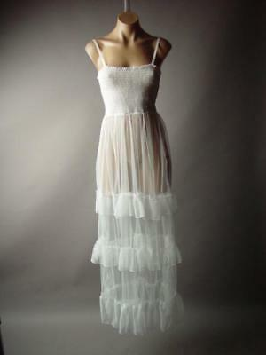 White Sheer Tulle Victorian Romantic Tiered Ruffle Gown Long 272 mv Dress S M L