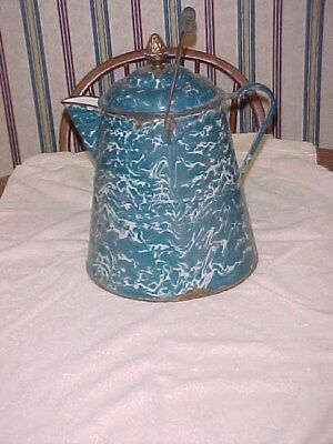 Antique Graniteware Coffee Pot Blue & White Coffee Pot