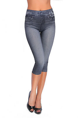 Womens 3/4 Denim Look Slimming Leggings High Waist Fitted Cropped Pants M791
