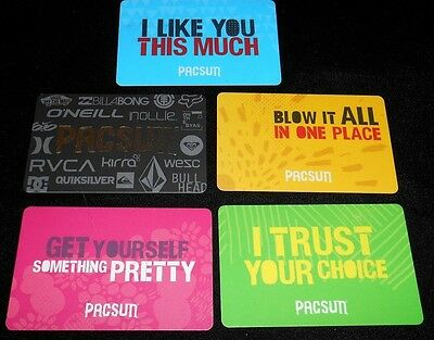 5 Collectible Gift Card Pac Sun Mall Store Surfer All Diff Lot No Value <2010