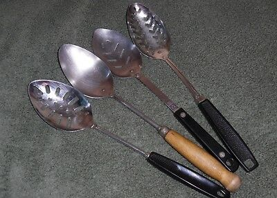 Lot of Vintage Ekco, Foley, Ace Chef, A&J Stainless Solid & Slotted Spoons Long