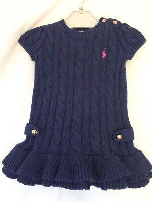 POLO RALPH LAUREN BABY GIRLS NAVY CABLE KNITTED JUMPER DRESS AGED 9 Months