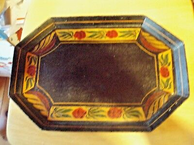 Vintage Tole Ware Hand Painted 8 Sided Octagonal Tray