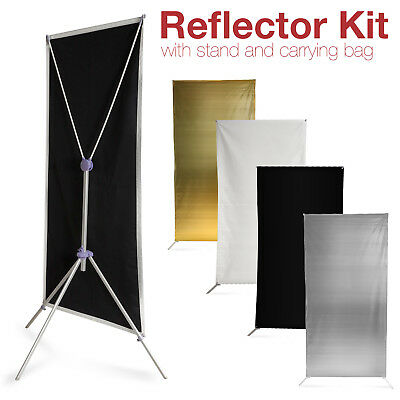 Photography Studio Panel Light Reflector Kit w/ Stand Black White Gold Silver