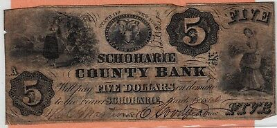 Obsolete Banknote; New York, Schoharie County Bank $5