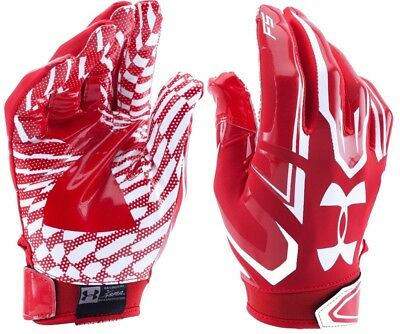Under Armour Ua F5 Football Gloves Youth Small Pair Red Wr Rb Skill Htf Flag Sml