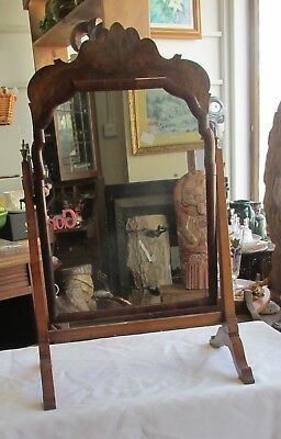 Antique Regency Toilet Mirror- Georgian Walnut Swing Vanity Mirror brass finials