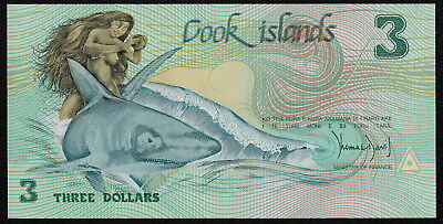 COOK ISLANDS (P03a) 3 Dollars ND(1987) aUNC+