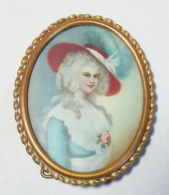 Old MINI Miniature Antique LADY PORTRAIT PAINTING Framed Artist Signed LE BRUN